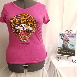 XXL (19) Junior Magenta Ed Hardy Tiger T-Shirt